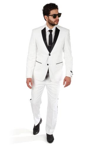 Slim Fit White Men/'s Tuxedo With Black Satin Collar 2 Button Notch Lapel By AZAR