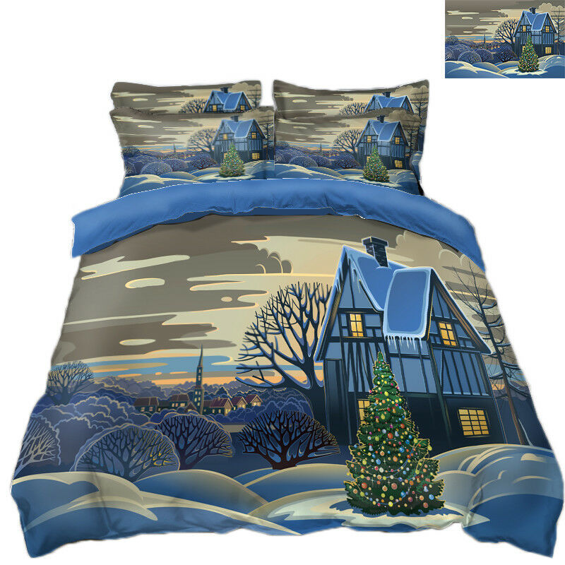 3D Christmas Xmas Scenery 89 Bed Pillowcases Quilt Duvet Cover Set Single Queen