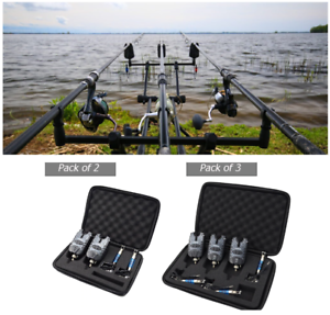 3pcs Set Carp Fishing Bite Alarm Swinger Water Resistant LED Indicator Case