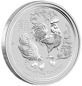 AUSTRALIA-LUNAR-YEAR-ROOSTER-2017-1-oz-Pure-Silver-BULLION-BU-Coin-in-CAP