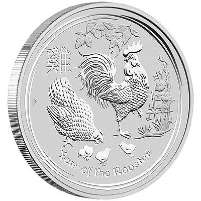 AUSTRALIA LUNAR YEAR ROOSTER - 2017 1 oz Pure Silver BULLION BU Coin in CAP