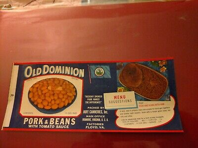 OLD DOMINION GREEN BEANS TIN CAN LABEL 1930/'s HUFF CANNERIES ROANOKE VIRGINIA