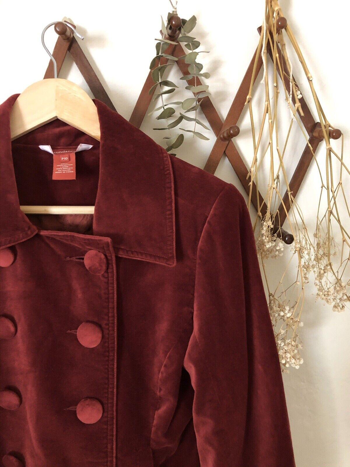❀Sundance Vintage Red Velvet Button Blazer 10P - image 5