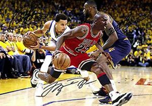 premium selection 1e9c7 86dda Image is loading Michael-Jordan-LeBron-James-Stephen-Curry-Basketball -Signed-