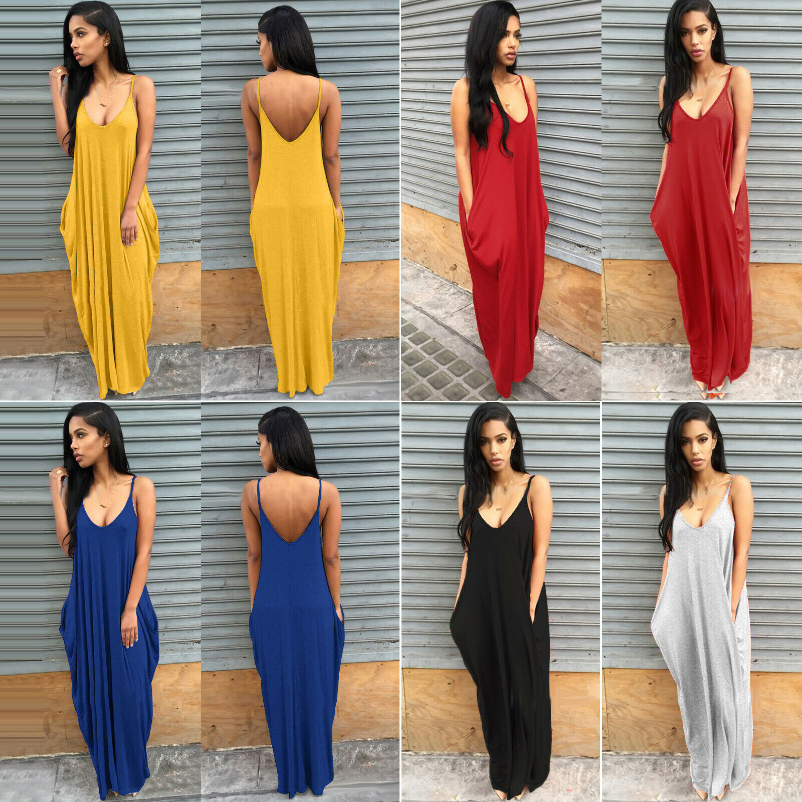 Women Ladies Maxi Dress Long Strappy Backless Loose Summer Beach Baggy Sundress 5