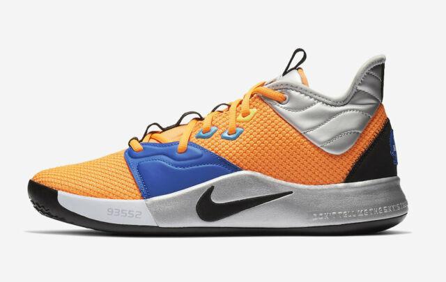 online store 2a8c5 79613 Nike Paul George PG 3 Size 8 NASA Basketball Ci2666 800 Total Orange Black