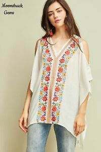 ENTRO-Floral-Embroidered-Cold-Shoulder-Boho-Top-USA-Boutique