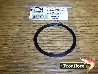 BLACK HARELINE SENYO/'S THIN INTRUDER TRAILER HOOK WIRE NEW ARTICULATED FLY TYING