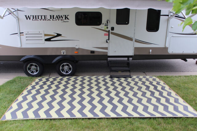Rv Mat Patio Rug Chevron Pattern 9x12 Tan Charcoal 2day Delivery Ebay
