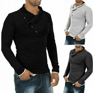 Fashion-Tops-Tee-Mens-Casual-Cotton-T-shirts-Long-Hot-Slim-Shirt-Fit-Sleeve