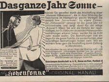 """HÖHENSONNE-Original Hanau, Werbung / Anzeige 1936, """"Das ganze Jahr Sonne"""""""