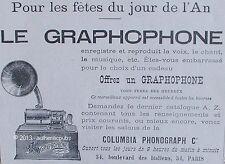 PUBLICITE GRAMOPHONE COLUMBIA PHONOGRAPH ENREGISTRE REPRODUIT LA VOIX DE 1898 AD