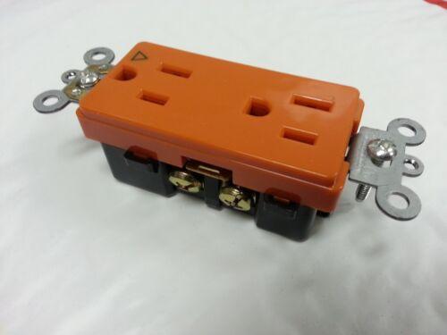 Isolated Ground Orange Decorator Duplex Receptacle Industrial Decora 15A 10 pc