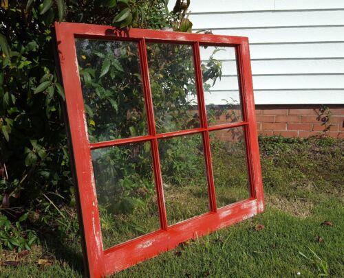 VINTAGE SASH ANTIQUE WOOD WINDOW FRAME PINTEREST DISTRESSED RED 36X28 FARM HOUSE