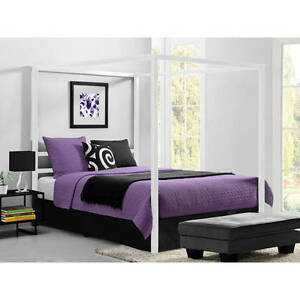image is loading modern canopy queen metal bed white platform bed