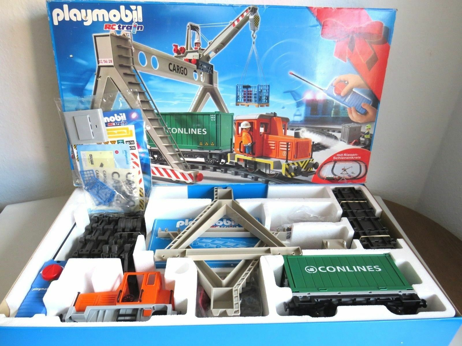 PLAYMOBIL® 4085 BOX TRAIN WAGON RAIL GRUE RC LGB Accessoire Chantier NEUF  L2 1E
