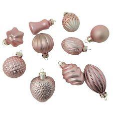 Elegant Art Glass Light Pink Mini Ornament Set 10 Old Fashioned Christmas Small