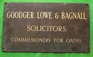 """Antiques Architectural & Garden C1900 Brass Goodger Lowe Bagnall Solicitor Antique Sign Plaque 18"""" X 10"""" 3.5kg Various Styles"""