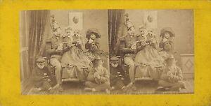 Scena-Da-Genere-Famille-Divertente-Foto-Stereo-Vintage-Albumina-Ca-1865