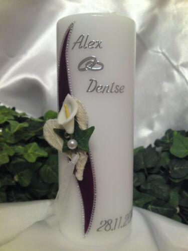 Hochzeitskerze 200//70mm Lila//Silber mit Hochzeitsanstecker Calla H084