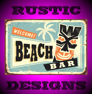 Beach bar with tiki mask and palm tree sign 9655 rusty metal rustic look mancave