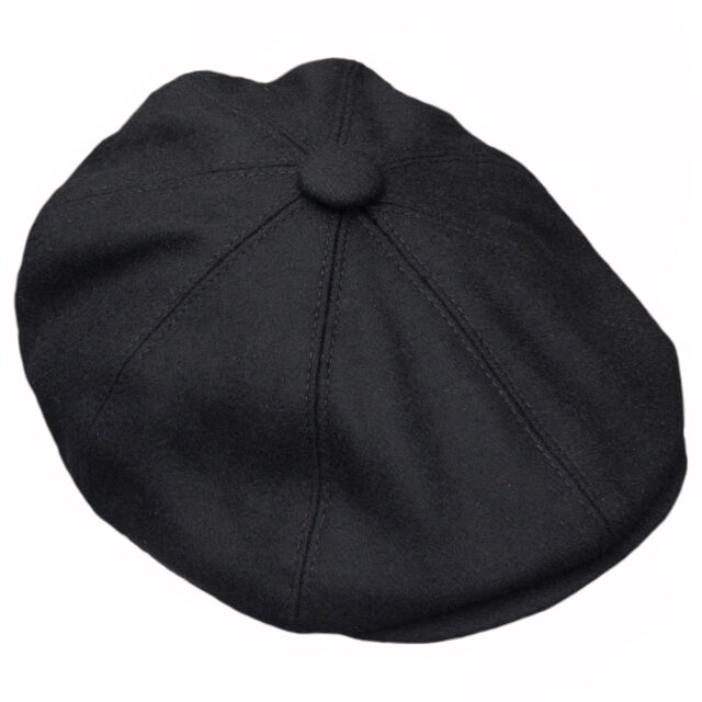 e228e2365 G & H Black Wool Newsboy 8 Panel Peaky Blinders Style 1920s Gatsby Flat Cap  Hat