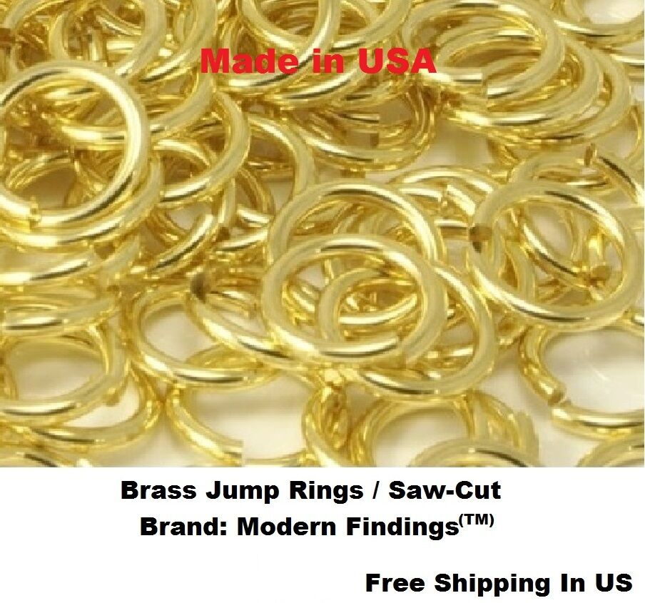 pkg of 200-1 Oz Saw-Cut 18 Ga  BRASS JUMP RINGS 8 MM O//D Solid Brass