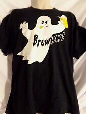 """Men's 2XL XXL T Shirt """"Brewww!"""" White Ghost with a Beer Black Halloween Party"""