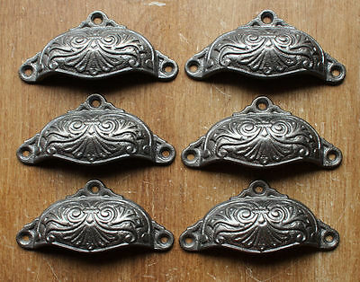6 x VICTORIAN ANTIQUE STYLE CAST IRON CUP PULL DRAWER HANDLES CABINET ~ DP04 x6