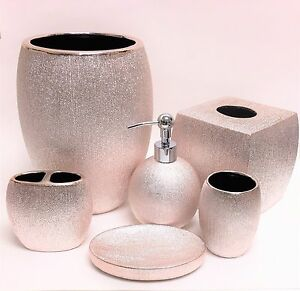 rose gold bathroom accessories. Image is loading 6 PC SET CARO BRIGHT METALLIC ROSE GOLD  PINK SOAP DISPENSER TRASH