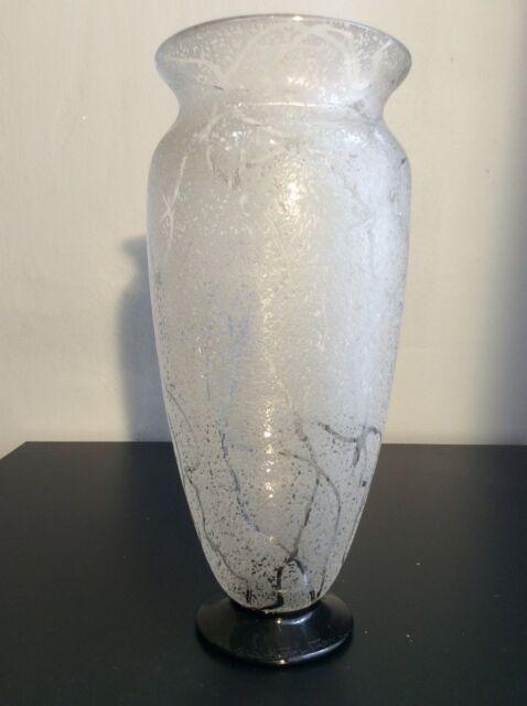 Vase balustre en cristal givré à l'acide signé Daum ‡ Nancy France Art Déco
