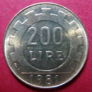 ITALY-Vintage-1981-200-LIRE-COIN-from-Republica-Italiana-NICE-Pre-EURO-COIN