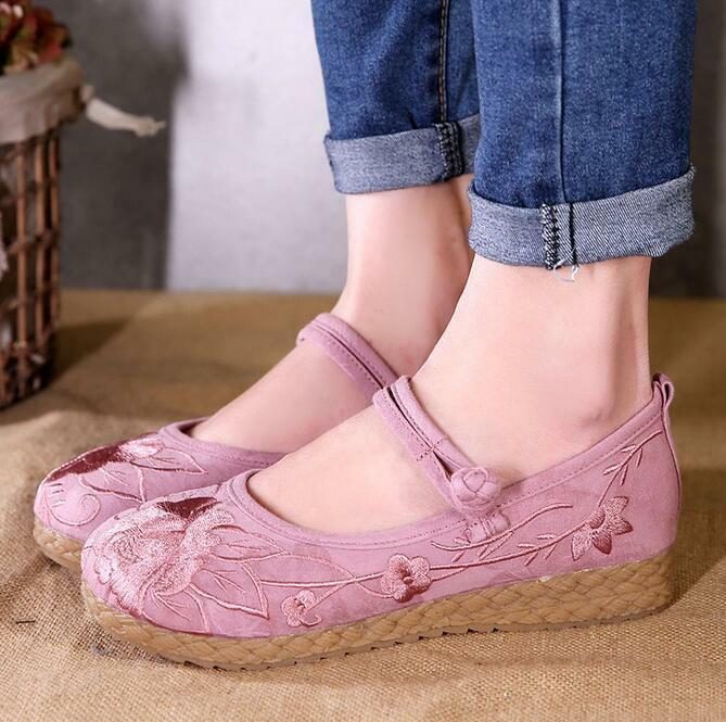 Womens Emboridery Floral Ethnic Pumps Buckle Causal Dance shoes Oxfords Flats