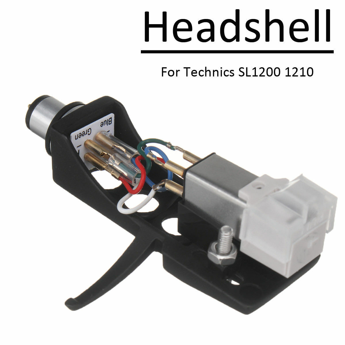 Turntable Headshell Mount Stylus Plastic Cartridge with Lead Wires Replacement Set Contact Universal Accessories Holder Phono Record Player for LP