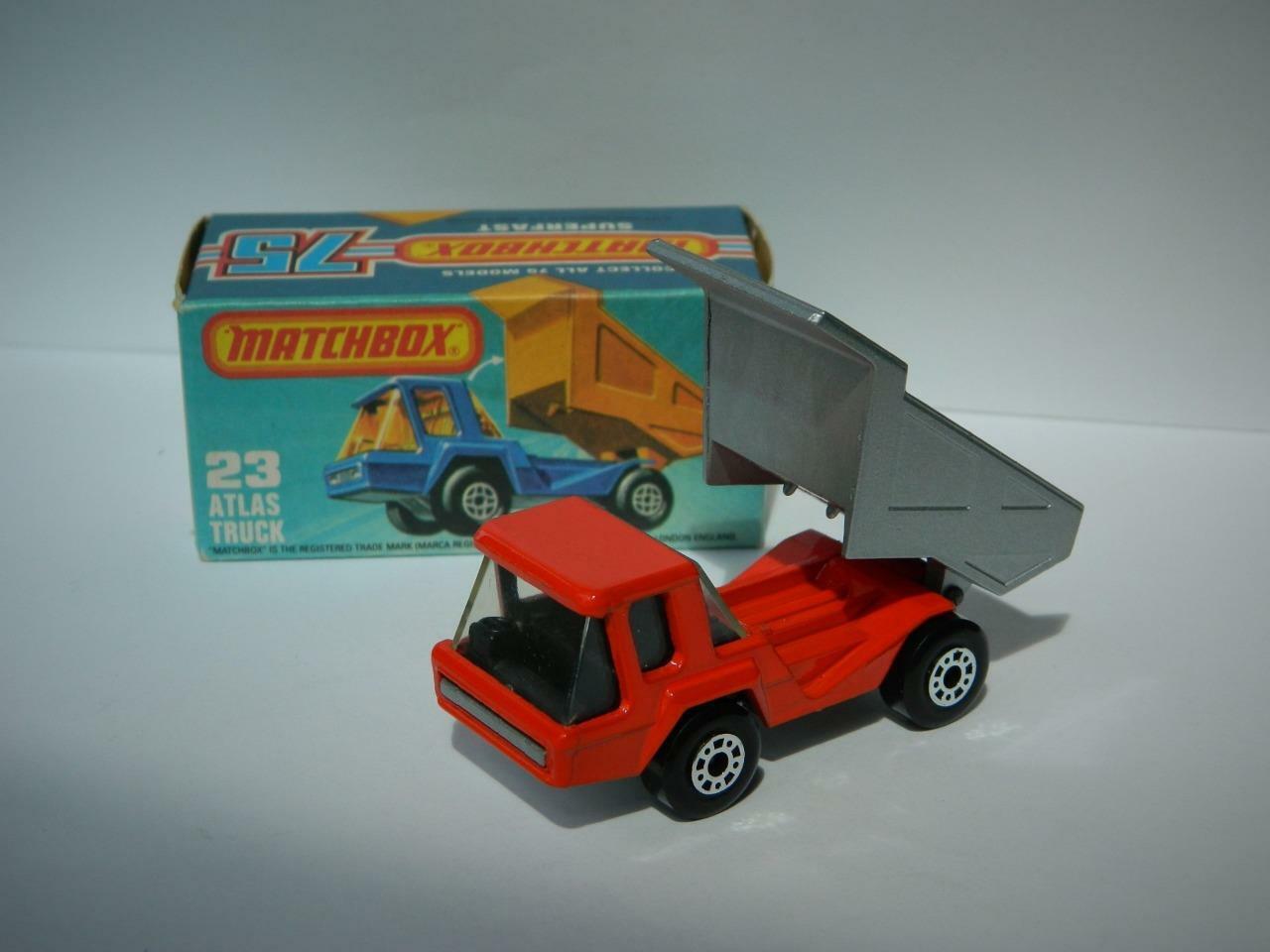 Matchbox Lesney súperfast en caja Atlas camión Raro Negro Interior No.23 vnmib 1981