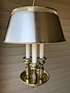Vintage-Two-Tone-Silver-and-Gold-Bouillotte-Tole-Triple-Candlestick-Swag-Lamp-LB