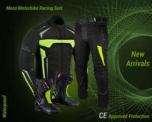 Motorbike-Cordura-Suit-Jacket-Trouser-Waterproof-Motorcycle-Leather-shoes-Boots