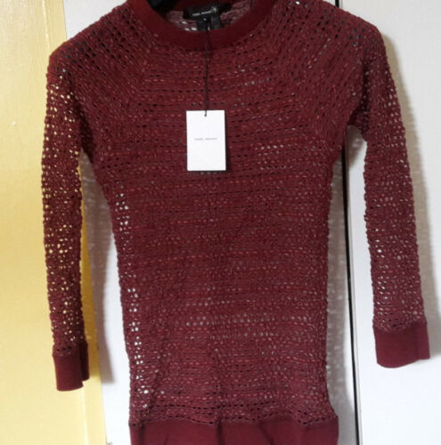 210 Isabel Marant Hole Knit Top. Wine Red. Small. Size 1 8UK 36FR 40IT. New