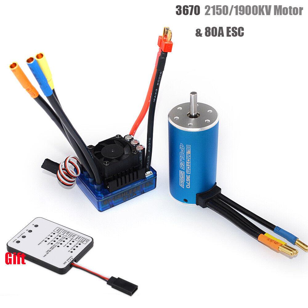 3670 4 poles Sensorless Brushless Motor with 80A ESC& LED Programming autod