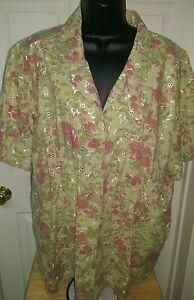 Bobbie-Brooks-Women-Multi-Color-Floral-Button-Down-Shirt-Top-Blouse-Size-22W-24W