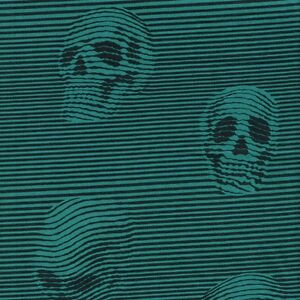 Alexander-Henry-Gothic-Between-the-Lines-Skulls-Black-amp-Teal-Stripe-Fabric-FQ