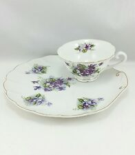 Vintage Lefton China Hand Painted Violets Teacup and Snack Plate 1950's