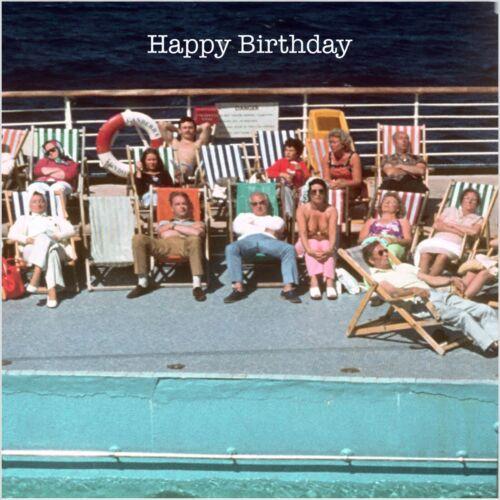 On Deck Cruise Ship 1960s 1970s Unique Vintage Retro Birthday Card Nostalgia