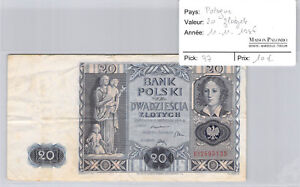 Poland 20 Zlotych 11.11.1936 N° BY2695135 Pick 77