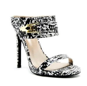 1e4e10a609 Qupid Women's Black and White Open Toe High Heel Slip On Mule ...