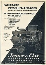 Maschinenfabrik Irmer Elze Bad Oeyenhausen Reklame 1939 Pressluft Kompessor
