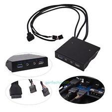 USB 3.0 2.0 Port HUB + HD Audio PC Floppy Expansion Front Panel Connector Black