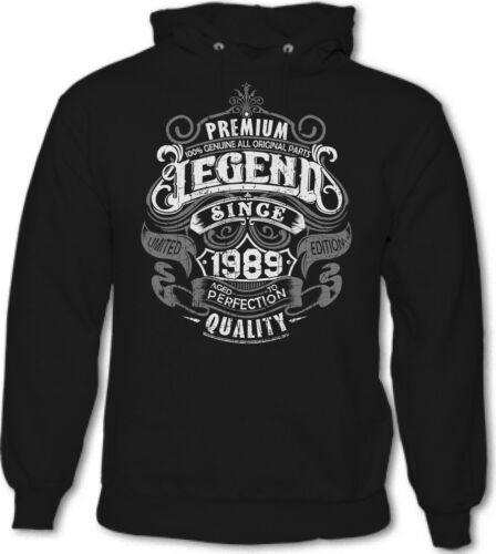 Premium Legend Since 1989 Mens Funny 30th Birthday Hoodie 30 Year Old Gift Top