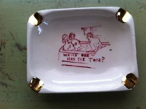 Vintage x rated ashtray threesome Risque Hot tub ceramic gag gift gold leaf