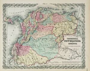 """1859 Colton's  """"VENEZUELA, NEW GRANADA & ECUADOR""""-original steel-plate engraving"""